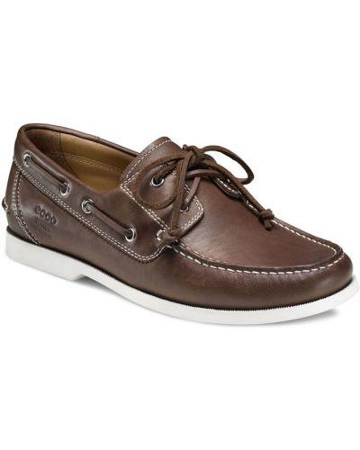 Мокасины кожаные на шнурках Ecco