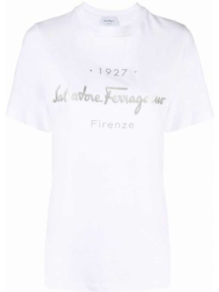 Белая футболка с круглым вырезом Salvatore Ferragamo
