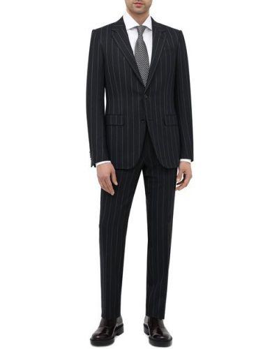 Приталенный темно-синий шерстяной костюм Ermenegildo Zegna