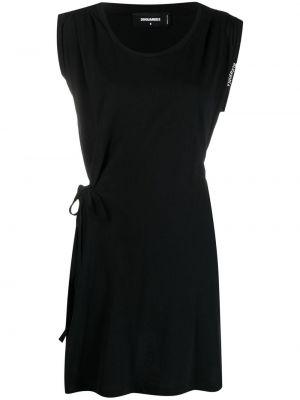 Хлопковое прямое черное платье Dsquared2