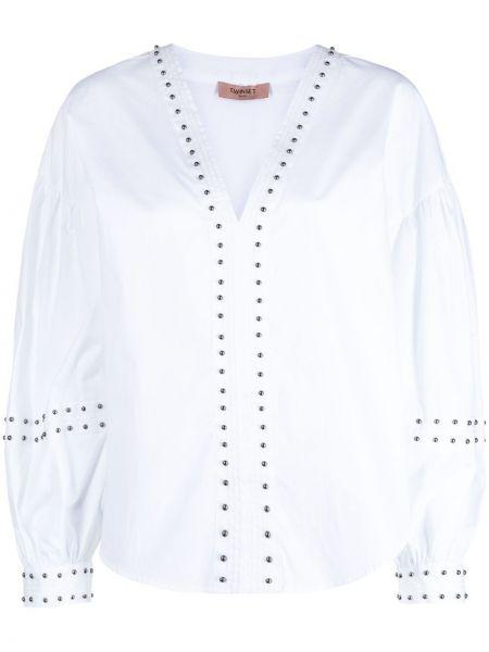 Bluzka z dekoltem w serek - biała Twin Set