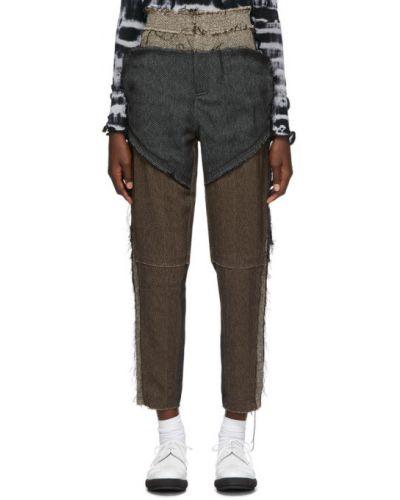 Брючные черные брюки с накладными карманами с заплатками Asai