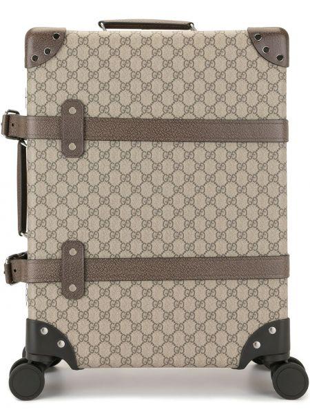 Brązowa walizka skórzana klamry Gucci