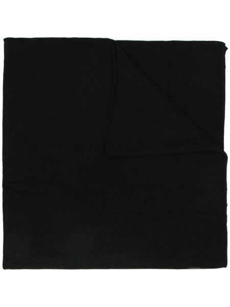 Кашемировый черный шарф прямоугольный с опушкой Allude