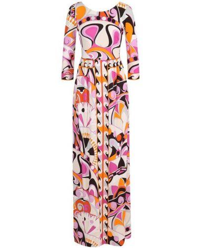 Платье макси с абстрактным принтом с вырезом Emilio Pucci