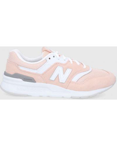 Różowe sneakersy skorzane na obcasie New Balance