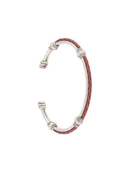 Кожаный серебряный браслет без застежки Gas Bijoux