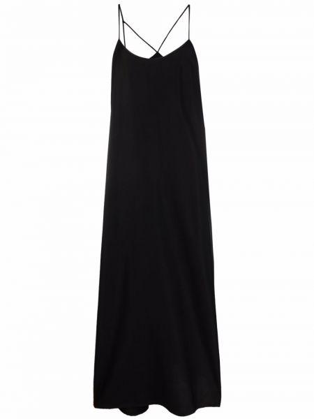 Черное платье трапеция из вискозы с вырезом Isabel Benenato