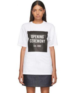Рубашка с коротким рукавом белая без воротника Opening Ceremony