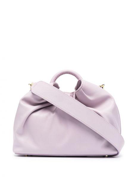 Фиолетовая с ремешком кожаная сумка-тоут Elleme