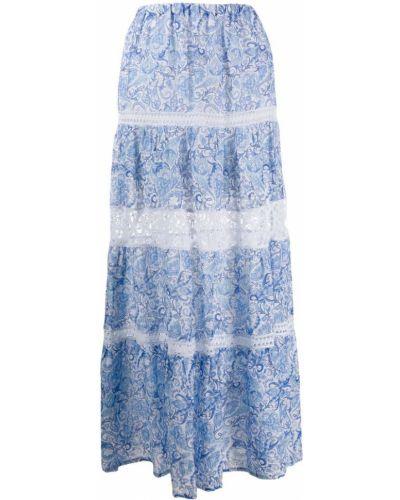 Приталенная расклешенная ажурная синяя юбка макси Temptation Positano