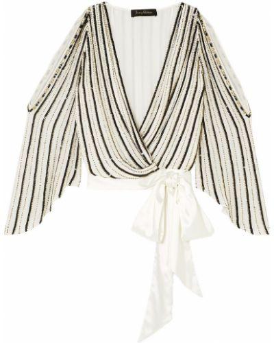 Шифоновая белая блузка с пайетками Jenny Packham