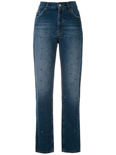 Джинсы с вышивкой - синие Eva