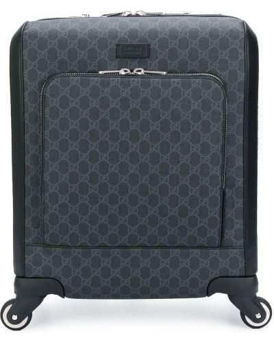 Кожаный черный чемодан на молнии Gucci