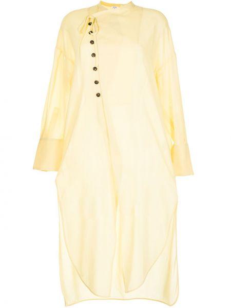 Sukienka długa z długimi rękawami - żółta Enfold