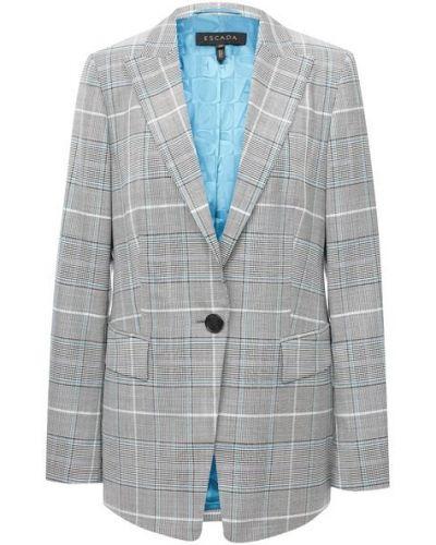 Прямой пиджак в клетку с подкладкой Escada