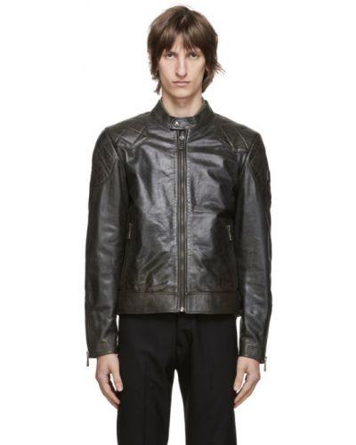 Z paskiem czarny pikowana kurtka na paskach z długimi rękawami Belstaff