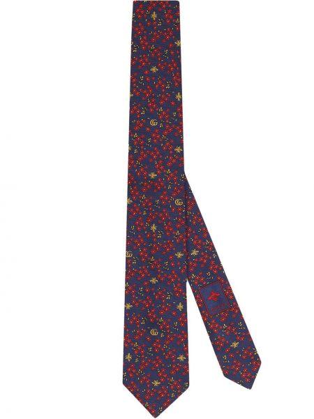 Żółty krawat z jedwabiu z haftem Gucci