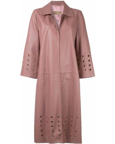 Розовое укороченное пальто с воротником с капюшоном Ecaille