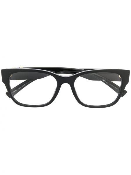 Золотистые черные очки квадратные металлические Versace Eyewear