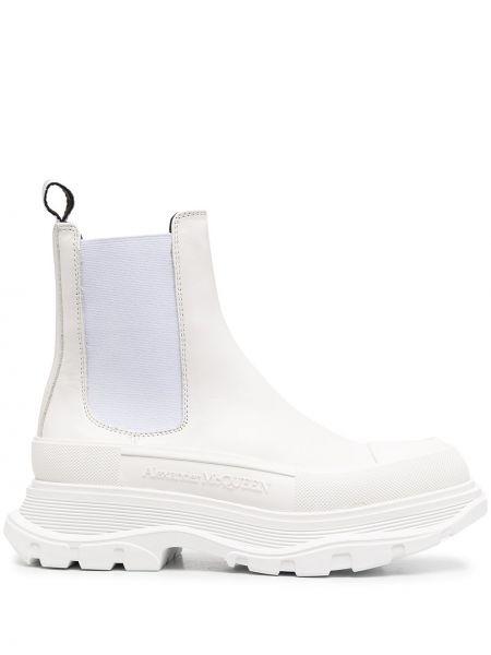 Skórzany biały buty obcasy okrągły na pięcie Alexander Mcqueen