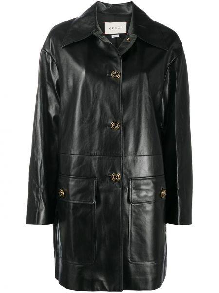 Черное кожаное пальто с воротником на пуговицах из вискозы Gucci