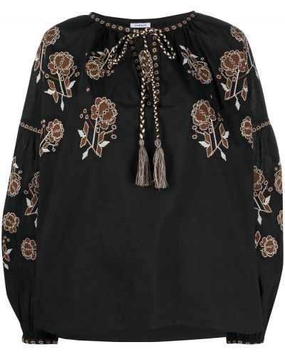 Z rękawami czarny bluzka z haftem Parosh