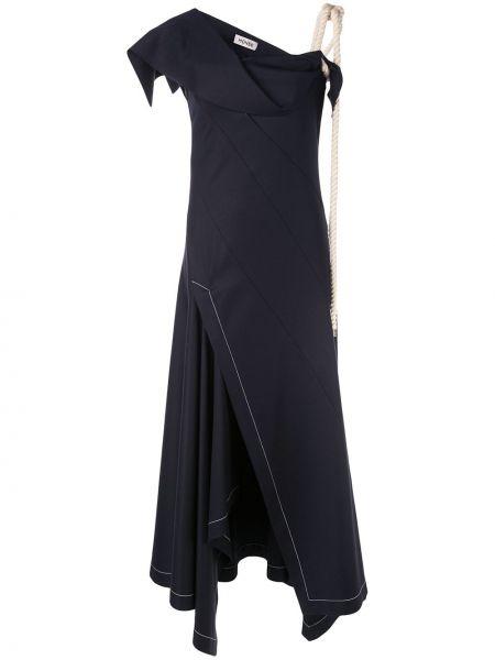 Асимметричное приталенное вечернее платье с драпировкой без рукавов Monse