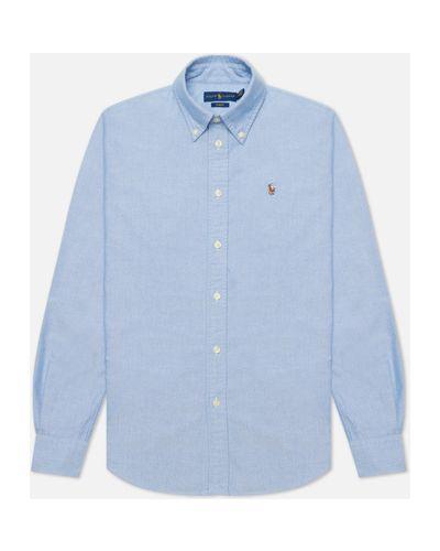 Приталенная хлопковая оксфордская рубашка с воротником Polo Ralph Lauren