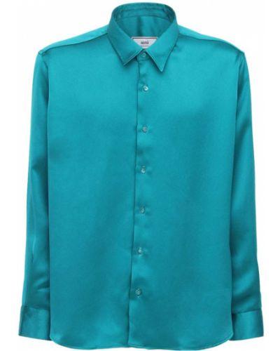 Zielony satyna koszula z mankietami Ami Alexandre Mattiussi