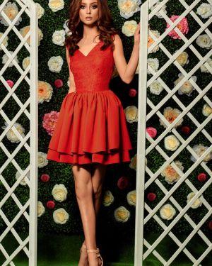 Czerwona sukienka wieczorowa na komunię elegancka Lemoniade