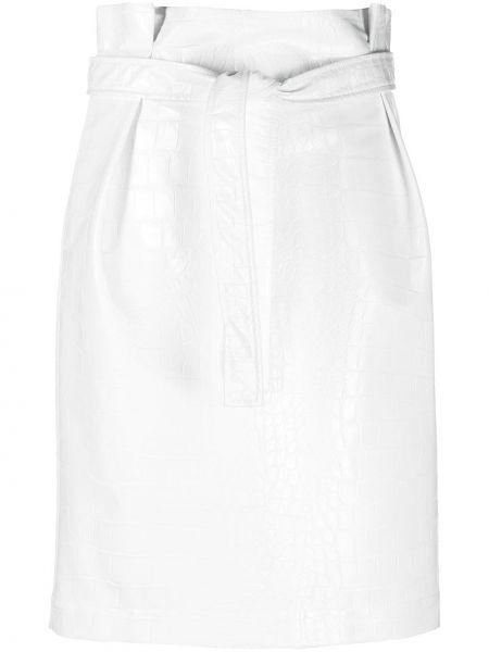 Прямая белая кожаная юбка миди Philosophy Di Lorenzo Serafini
