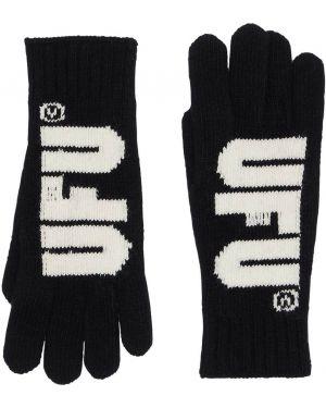 Prążkowane czarne rękawiczki wełniane Ufu - Used Future