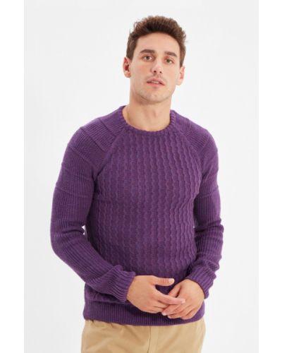 Sweter z akrylu - fioletowy Trendyol