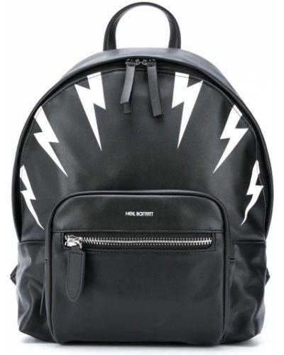 Черный рюкзак на бретелях на молнии круглый Neil Barrett Kids