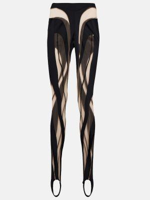 Трикотажные черные леггинсы сетчатые Mugler