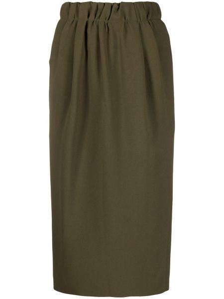 Зеленая с завышенной талией юбка миди с разрезом из вискозы N°21