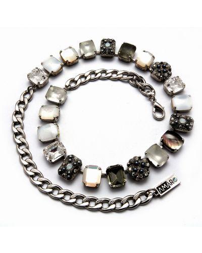 Ожерелье с жемчугом серебряный черное Amaro