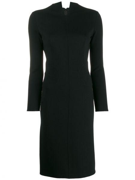 Шерстяное черное платье винтажное на молнии Alaïa Pre-owned