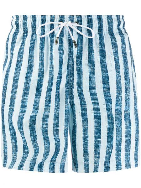 Niebieskie spodenki do pływania w paski Ermenegildo Zegna