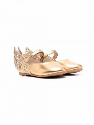Złote balerinki plaskie Sophia Webster Mini