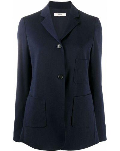 Шерстяной синий удлиненный пиджак с накладными карманами Odeeh