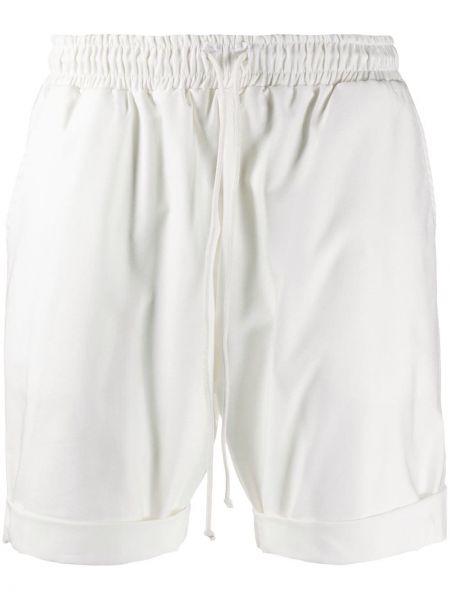 Biały bawełna ze sznurkiem do ściągania szorty sportowe z kieszeniami Alchemy
