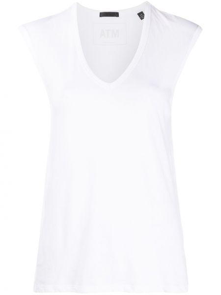 T-shirt bawełniany bez rękawów z dekoltem w serek Atm Anthony Thomas Melillo