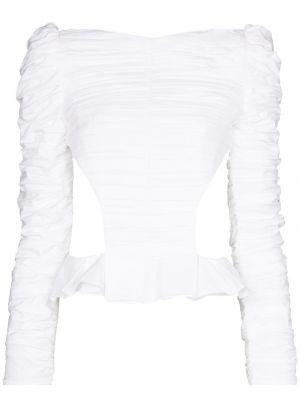 Ватная шелковая белая блузка Khaite