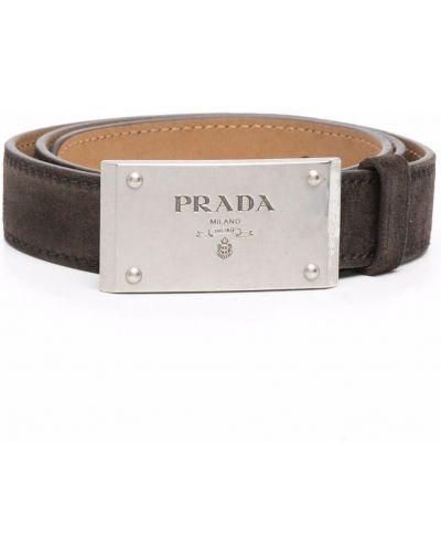 Brązowy pasek z paskiem srebrny Prada