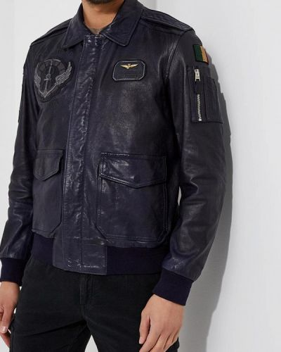 Кожаная куртка синяя Aeronautica Militare