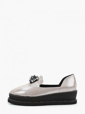 Серебряные туфли закрытые из нубука Ridlstep