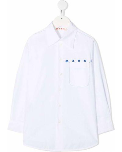 Белая классическая рубашка с воротником с карманами с манжетами Marni Kids