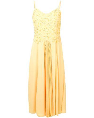 Приталенное желтое платье миди на бретелях на молнии Noon By Noor